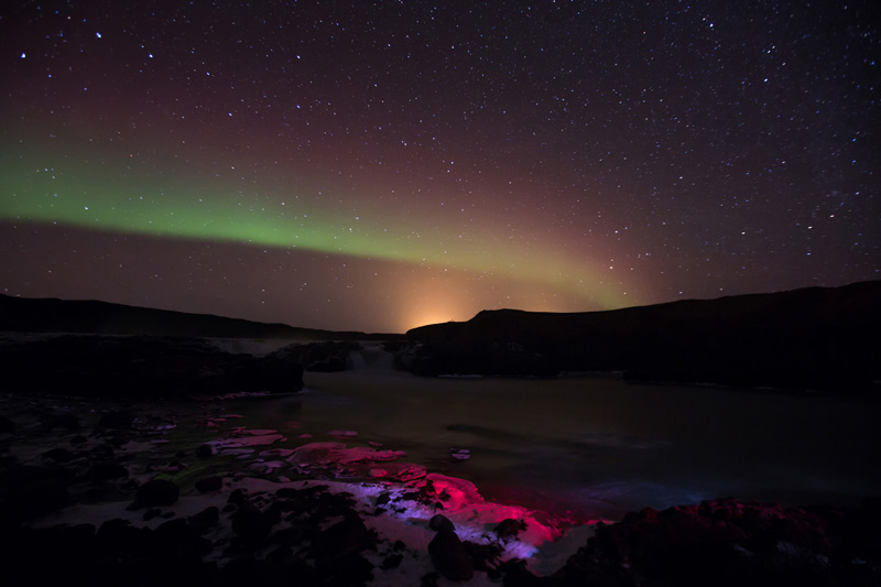 Pink northern lights