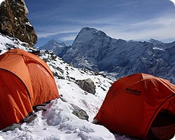 High altitude camping in the Mera Peak massif