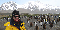 Cat Griffin in South Georgia with penguins