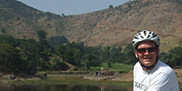 Ian cycling in Rajasthan