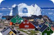 Ice berg of arch and row of houses