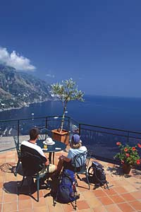 Cafe with a view over the Amalfi Coast