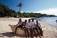 Boys on the beach at at Lake Malawi, Malawi