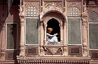 Man in window, Jaisalmer, Rajasthan, India