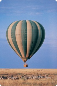 Balloon flight over the wildlife of Kenya