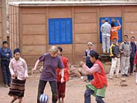 Playing football with the kids, Tijhza Responsible Tourism project