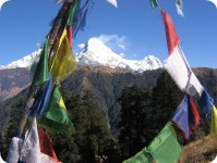 Annapurna through prayer flags