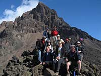Group and Mwenzie Peak on Kilimanjaro