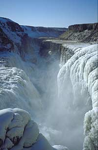 Gulfoss frozen waterfall