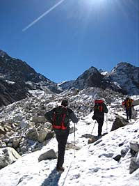 Trekkers on approach to Island Peak