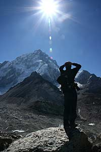 Enjoying the view across the Khumbu Glacier, Everest Base Camp