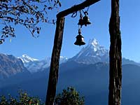 Machapuchhare and temple bell