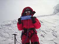 Valerie Parkinson on summit of Manaslu