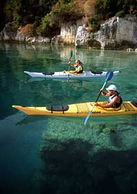 Kayaking in crystal clear water, Turkey