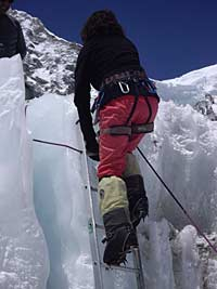 Valerie Parkinson ice-climbing on Everest