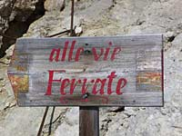 alle via ferrate signpost