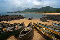 Fishing boats laid up on the beach, Sierra Leone