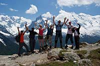 Group having fun with views of Mont Blanc