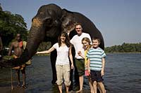Will Gray with his family, Kerala, India