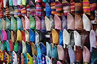 Slipper market in Marrakech, Morocco