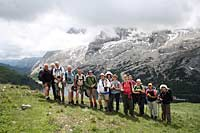 Group rest whilst walking in the Dolomites