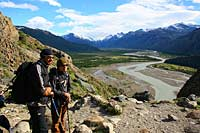 Passengers admiring the Los Glaciares National Park whilst exploring on foot