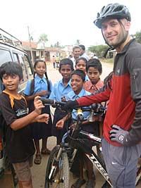 Olly with local children of Ooty, India
