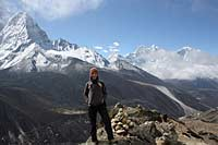 Exodus staff member on acclimatisation trek to the top of Nangkartshang peak 5100m. Everest Basecamp trek.