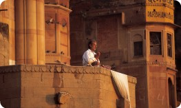 Hindu praying on ghat, Varanasi
