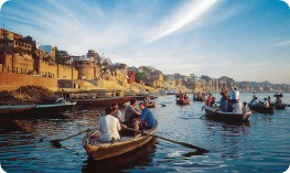 Boat trip along the ghats, Ganges River, Varanasi