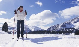 Girl cross-country skiing in the Sud Tirol Dolomites