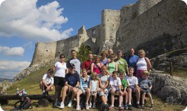 Families group in front of Spis Castle