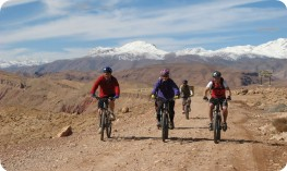 Bikers on top of pass above Boulmane-Dades, Atlas Mountains. Jebel M'Goun behind