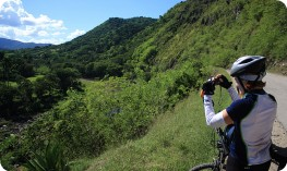 Cyclist photographing, Sierra Maestra
