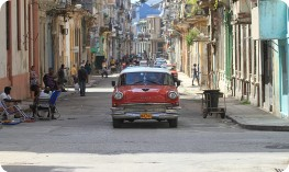 Street scene with old car, Cuba