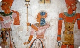 The colourful tomb walls of Medinet Habu