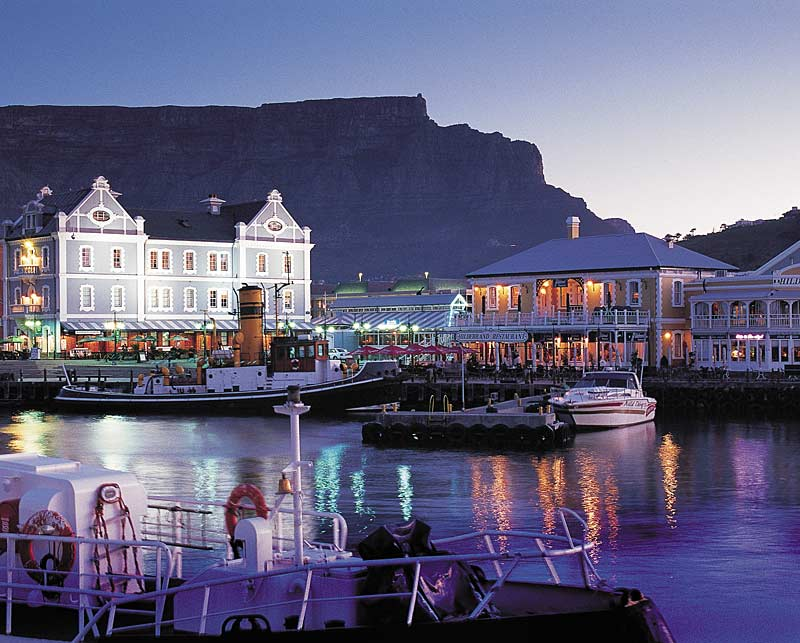 Victoria and Alfred Waterfront, Cape Town, South Africa with Table Mountain in background.