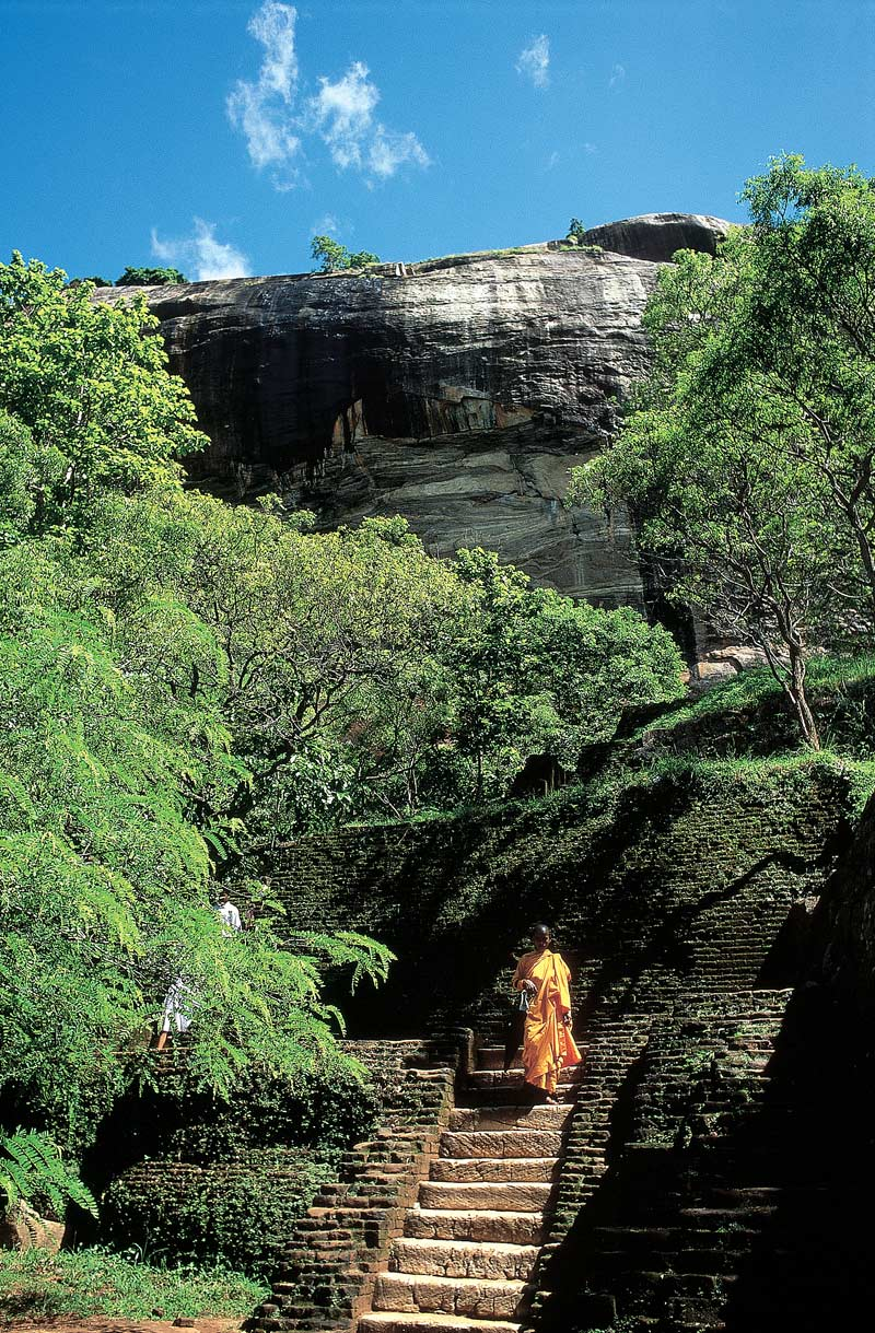 Monk on Sigiriya rock fortress