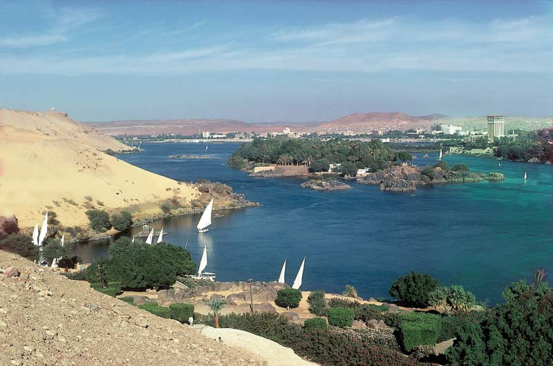Feluccas on the Nile outside Aswan, Egypt