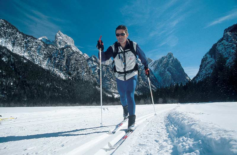 Tony Mortimore, cross-country ski instructor in the Dolomites