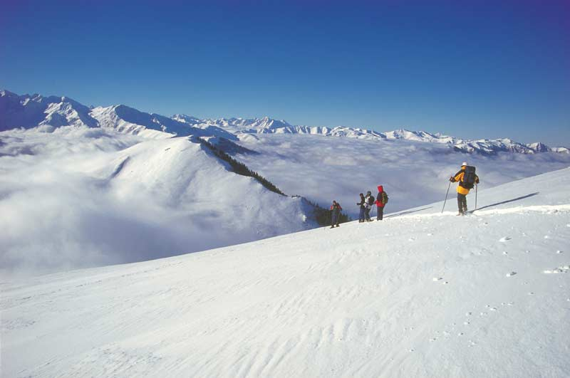 Snowshoers in the Pic d'Aubas, French Pyrenees