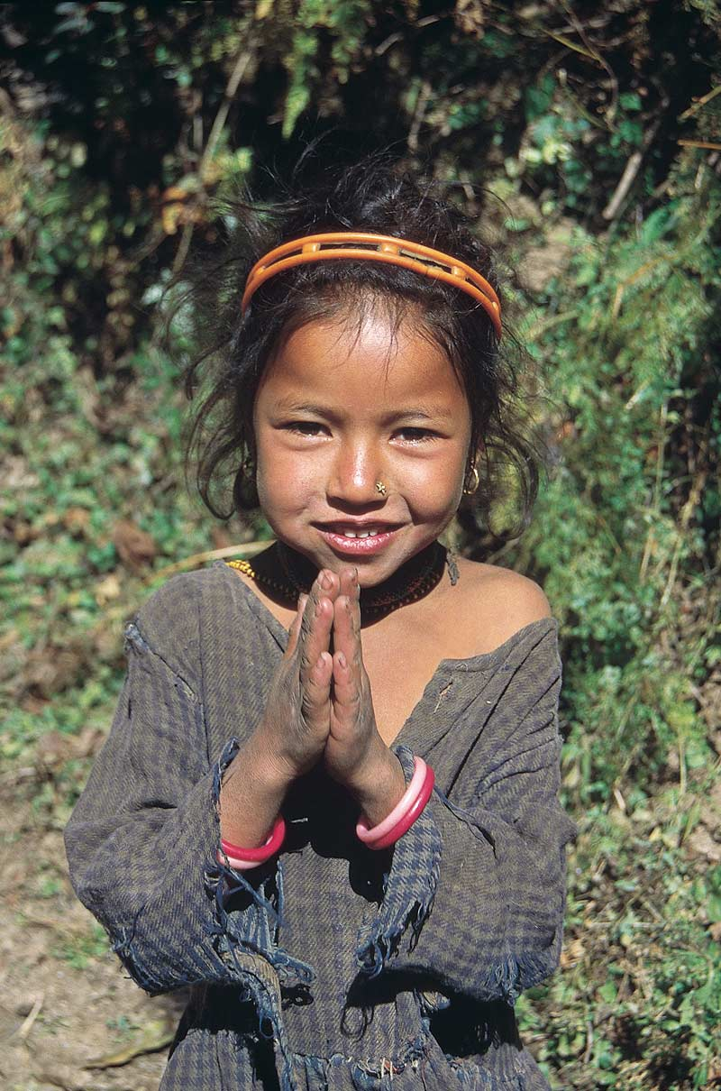 Nepali girl making Namaste