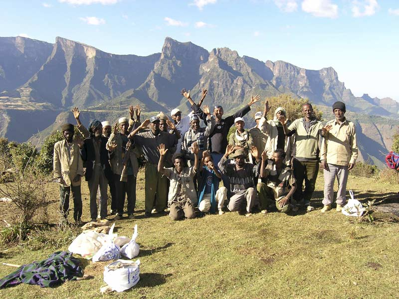 Trekking crew with Imet Gogo behind. Simien Mountains