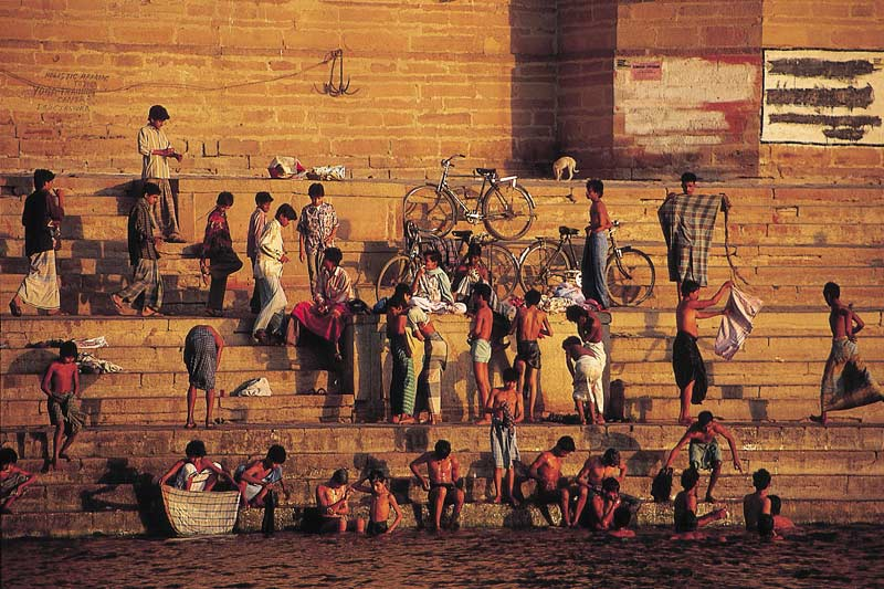 Hindus bathing on ghats by River Ganges, Varanasi