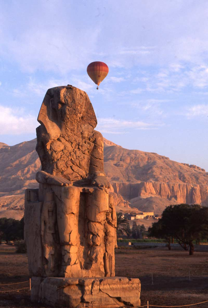 Balloon over Colossi of Memnon and Valley of the Kings, Luxor