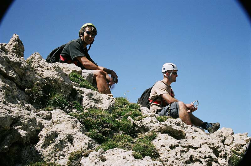Resting on a Via ferrata route