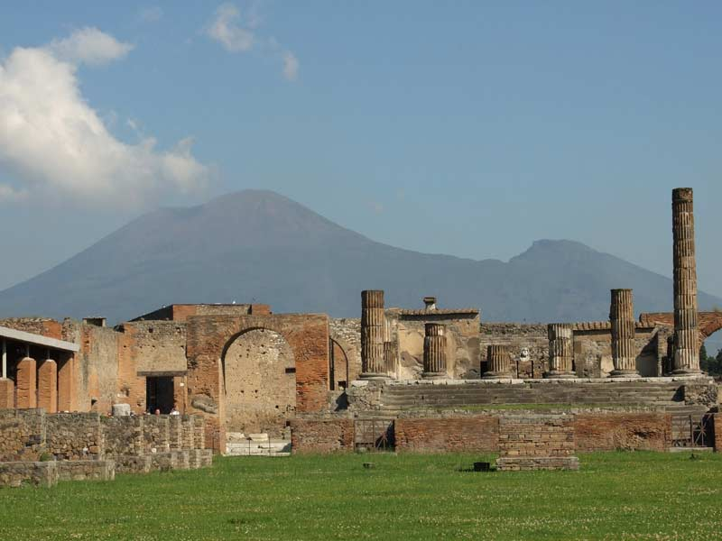 View of Mt Vesuvius from Pompeii