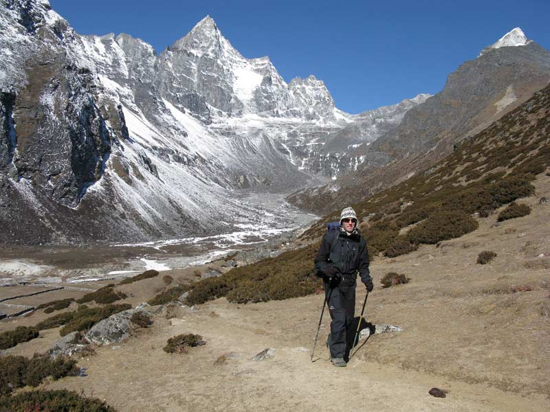 Andy Ross trekking in Gokyo Valley