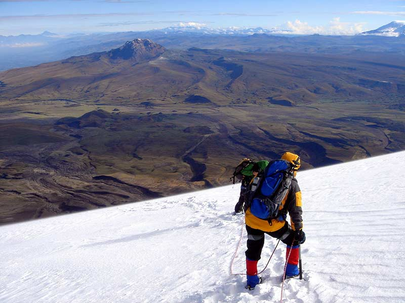 Descending from Cotopaxi\'s summit, incredible views.