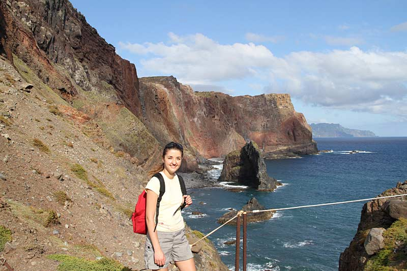 Trekkers on coastal walk, Madeira